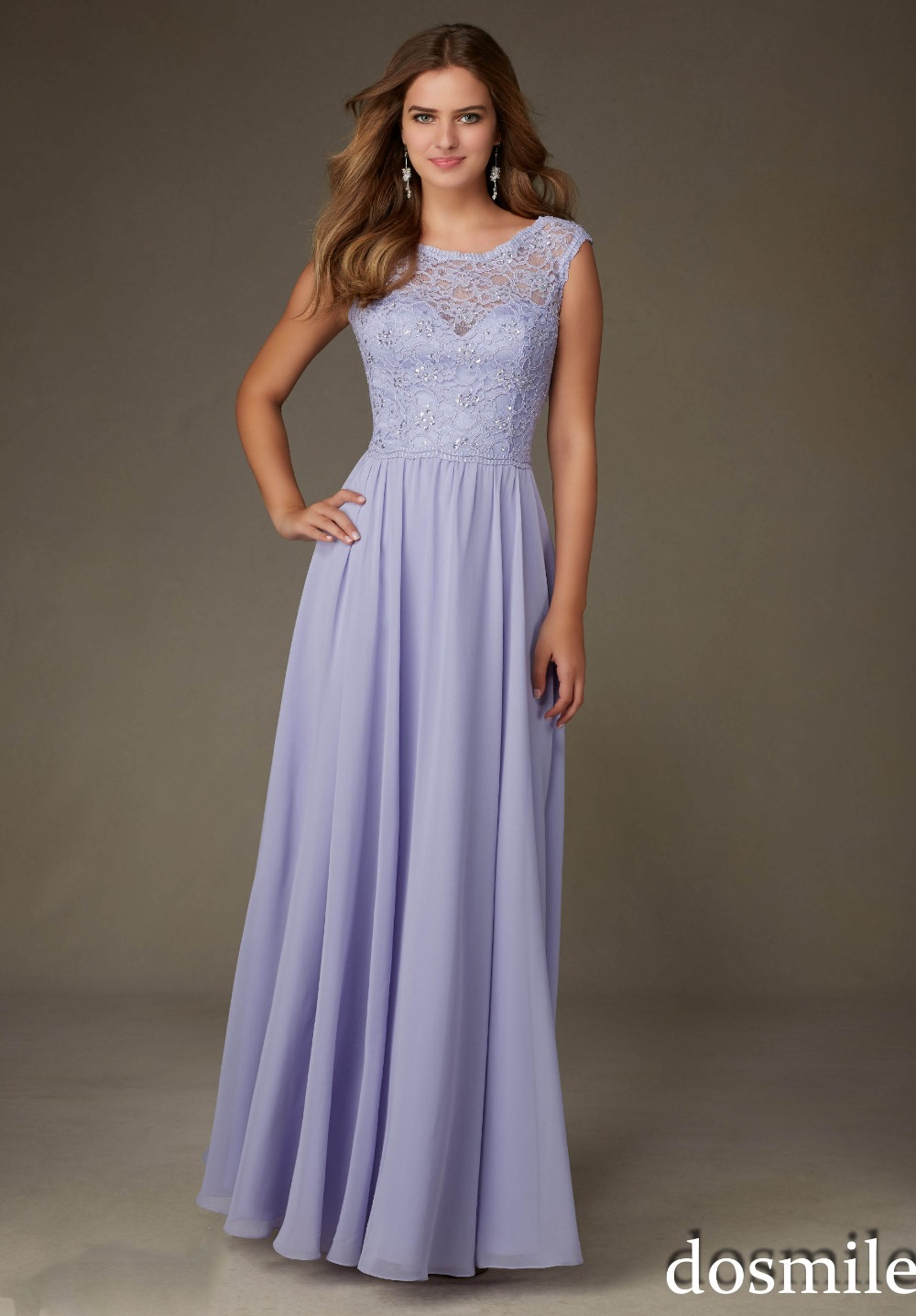 2016 Sleeveless Scoop Neck Lace Purple Long Bridesmaid