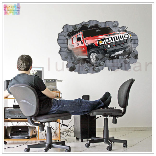 Car Big Size3D Stereo Breaking Wall Creative Stickers Removable Wallpaper Kids Room Decoration A0050 - Lucky Star Home Decor store