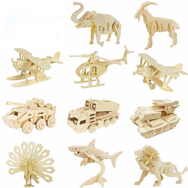 New 3d three-dimensional wooden animal jigsaw puzzle toys for children diy handmade wooden jigsaw puzzles Animals Insects Series(China (Mainland))