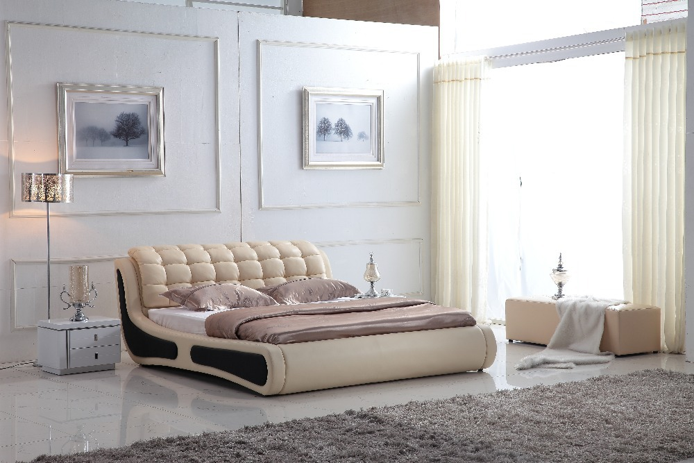 0414-802 modern design soft leather bed(China (Mainland))