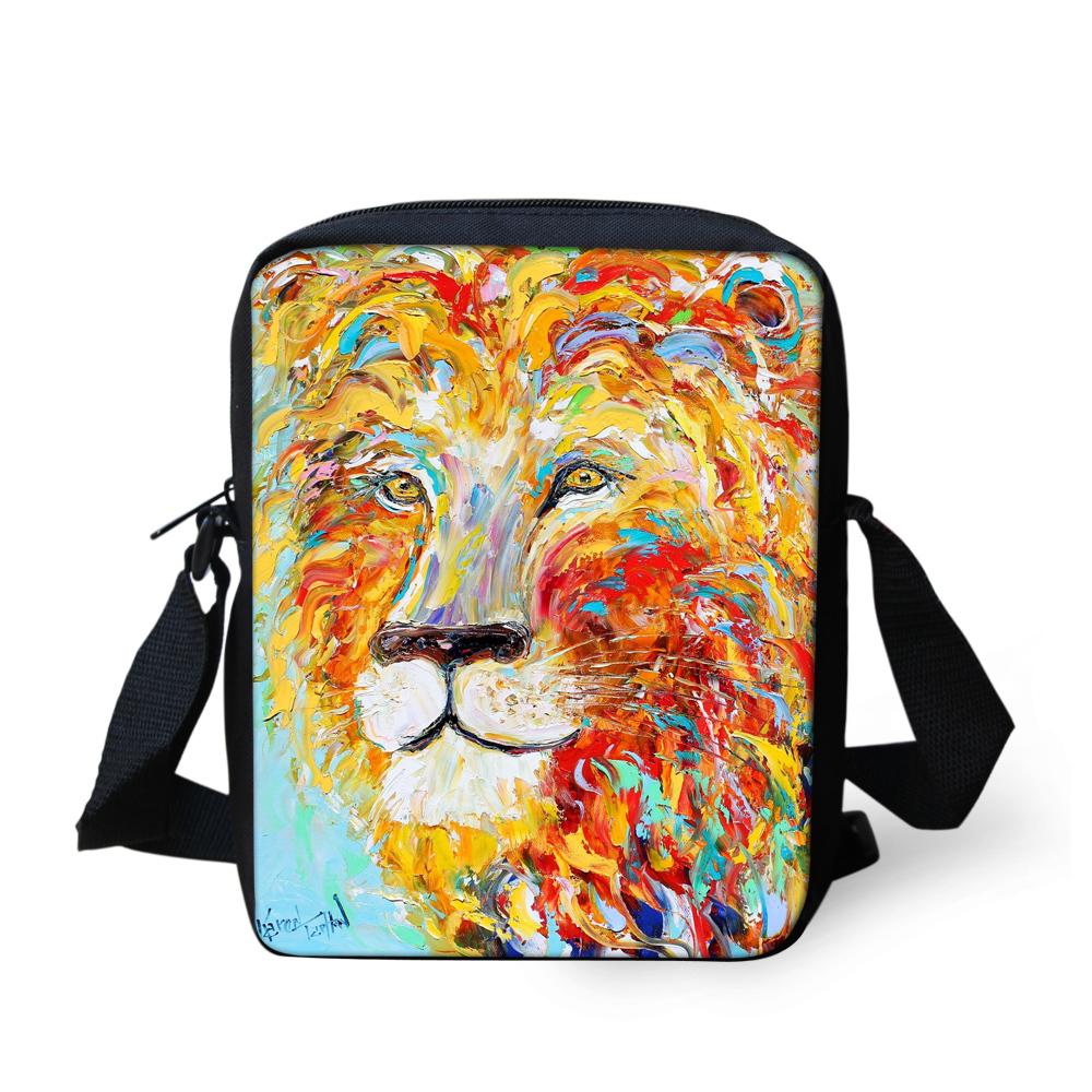 Fashion Men Messenger Bags 3D Animals Lion Cross Body Bag for Boys Casual Cute Leopard Shoulder Bags Messenger Travel Sport Bags(China (Mainland))