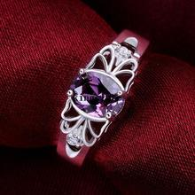 Luxury elegant amethyst 925 Silver Rings Jewelry Ultra-affordable Beautiful flowers ring Ms. Street beat wild Free shipping