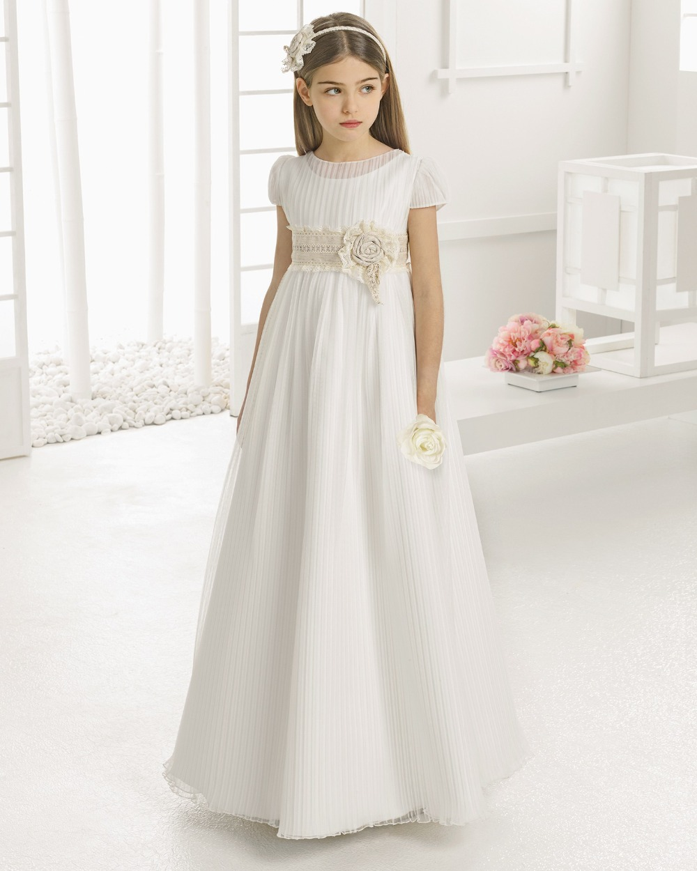2016 first communion dresses for girls chiffon lace floor for Girls dresses for a wedding