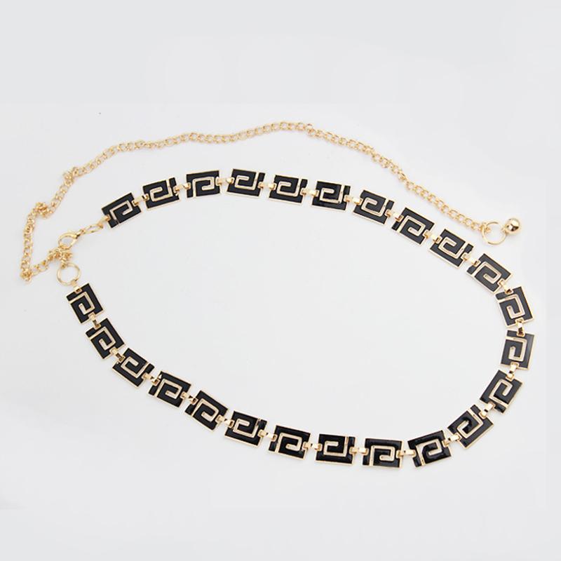 Glyphs Metal Chain Belt Top Fashion Ladies Belts For Women Thin Skinny Cummerbund Waist Belt Straps Waistband BE41(China (Mainland))