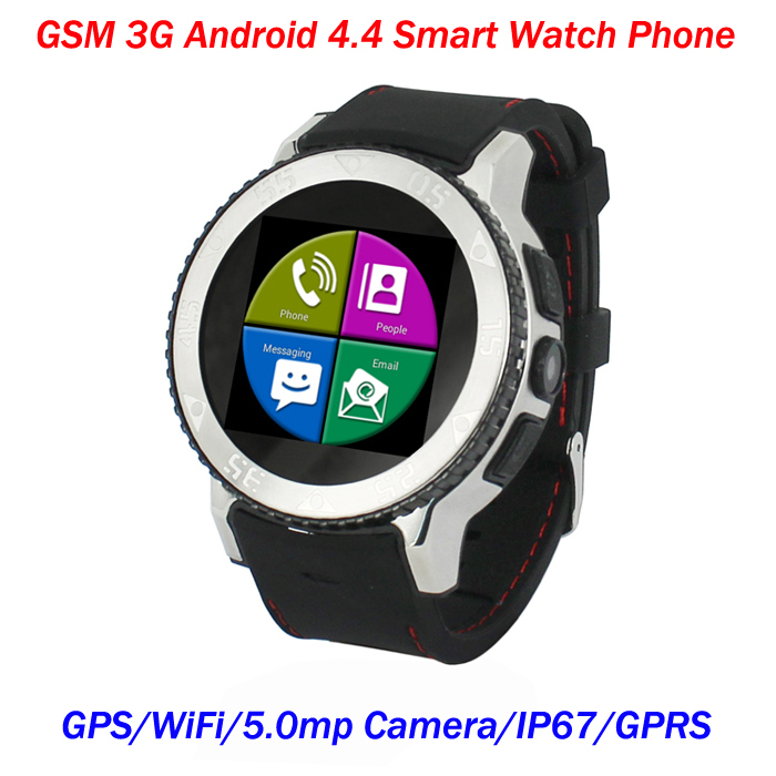 S7 GSM WCDMA Android 4.4 OS Dual Core Smart Watch, IP67 Waterproof GPS WiFi Watch Mobile Phone, FM Radio, Video, 5.0MP Camera.(China (Mainland))