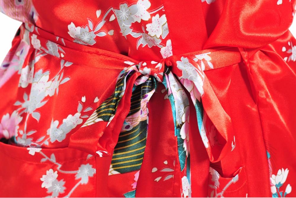 Лето Горячие Продажа Красный Китайский Невесты Свадебное Одеяние Женщины Район Ночной Рубашке Сексуальная Кимоно Ванна Платье Цветок и Павлин Плюс Размер XXXL BR015
