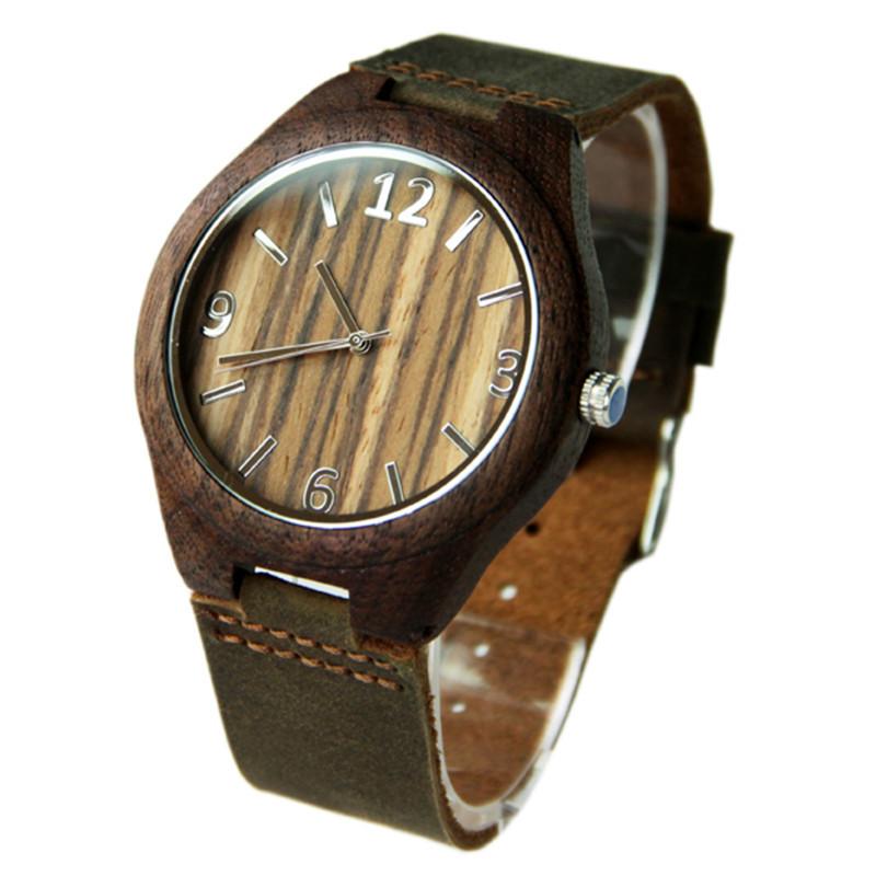 Высокое Качество Спорт Черные Деревянные Часы Для Мужчин и Женщин Круглые Кварцевые Наручные Часы Лучший Подарок Для Друга