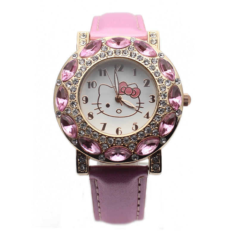 Hot Fashion Hello Kitty Watches Silicone Diamond Watch Girl Brand Quartz Women Ladies Watch Vintage Kids Cartoon Wristwatches(China (Mainland))