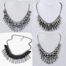 2015 Fashion choker Bohemian Statement necklace pendants Vintage Coin gypsy Ethnic Silver Maxi Necklace Women fine