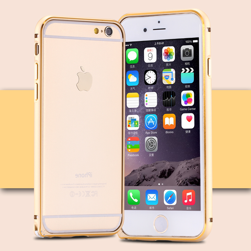 For iPhone 6 Gold Line Dual Color Aluminum Bumper For iPhone 6 4.7inch Deluxe Metal Buckle Clasp Protective Frame Rim Phone Case(China (Mainland))
