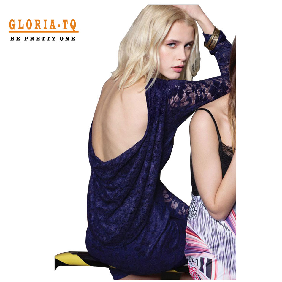 Solid Color Fashion Women Lace Dress Sexy Club Wear 2016 Long Sleeve Navy Short Party Dresses Draped Backless Mini Sexy Dress(China (Mainland))