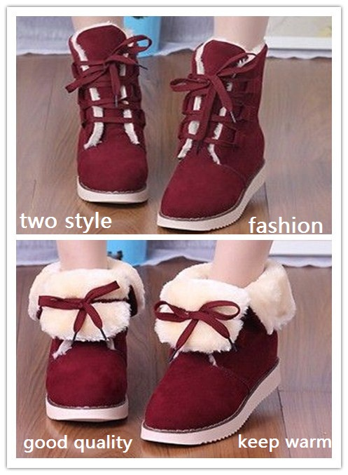 Гаджет  autumn winter woman snow boots female warm short boots flat heel round toe flat bottom lace-up casual cotton-padded shoes martin None Обувь