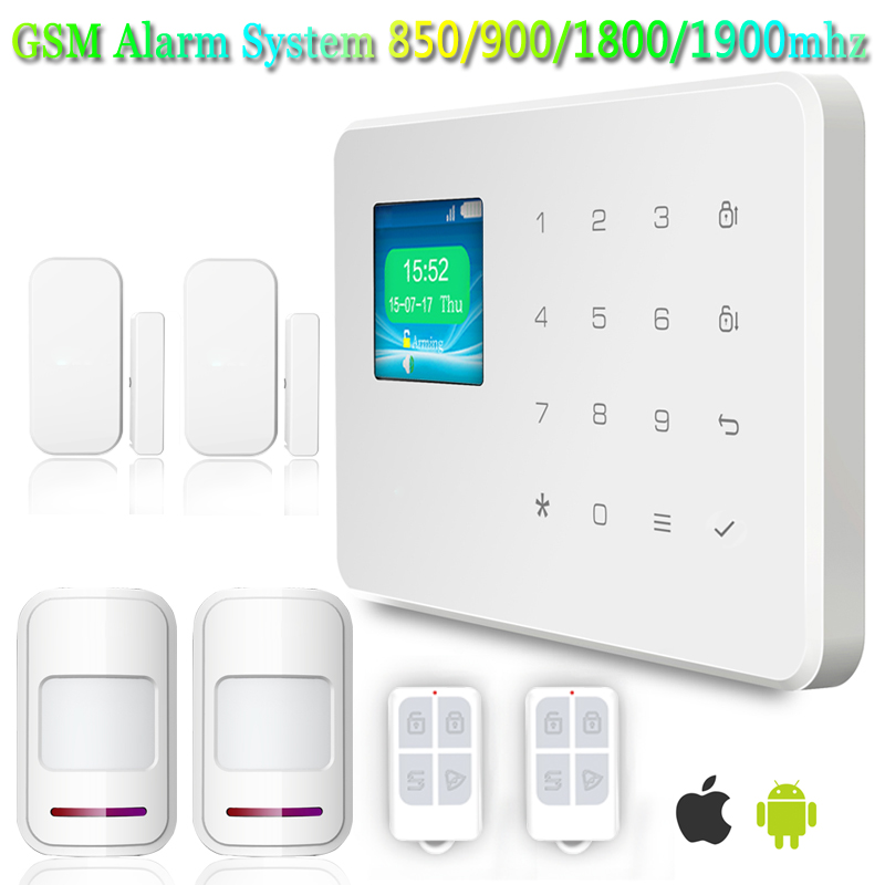 2016 Hot Selling Product Support Android IOS 99 Wireless Defence Zones 850/900/1800/1900MHz Home Security GSM Alarm System(China (Mainland))
