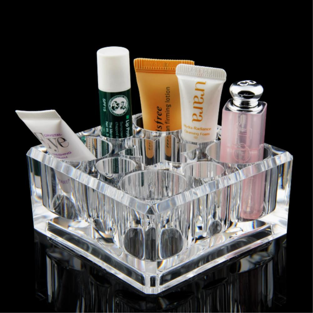 NEW 9 Grids Lipstick Organizer Storage Box Makeup Case Skin Care Display Box Beauty Container Top grade Clear Acrylic EQC353(China (Mainland))