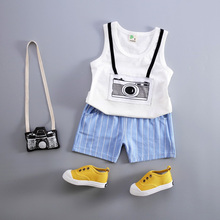 4Colors Toddler Girls Summer Clothes Set Baby Boys Clothing Set Kids Vest +Striped Pant 2Pcs/set Kids Cotton Suit Set