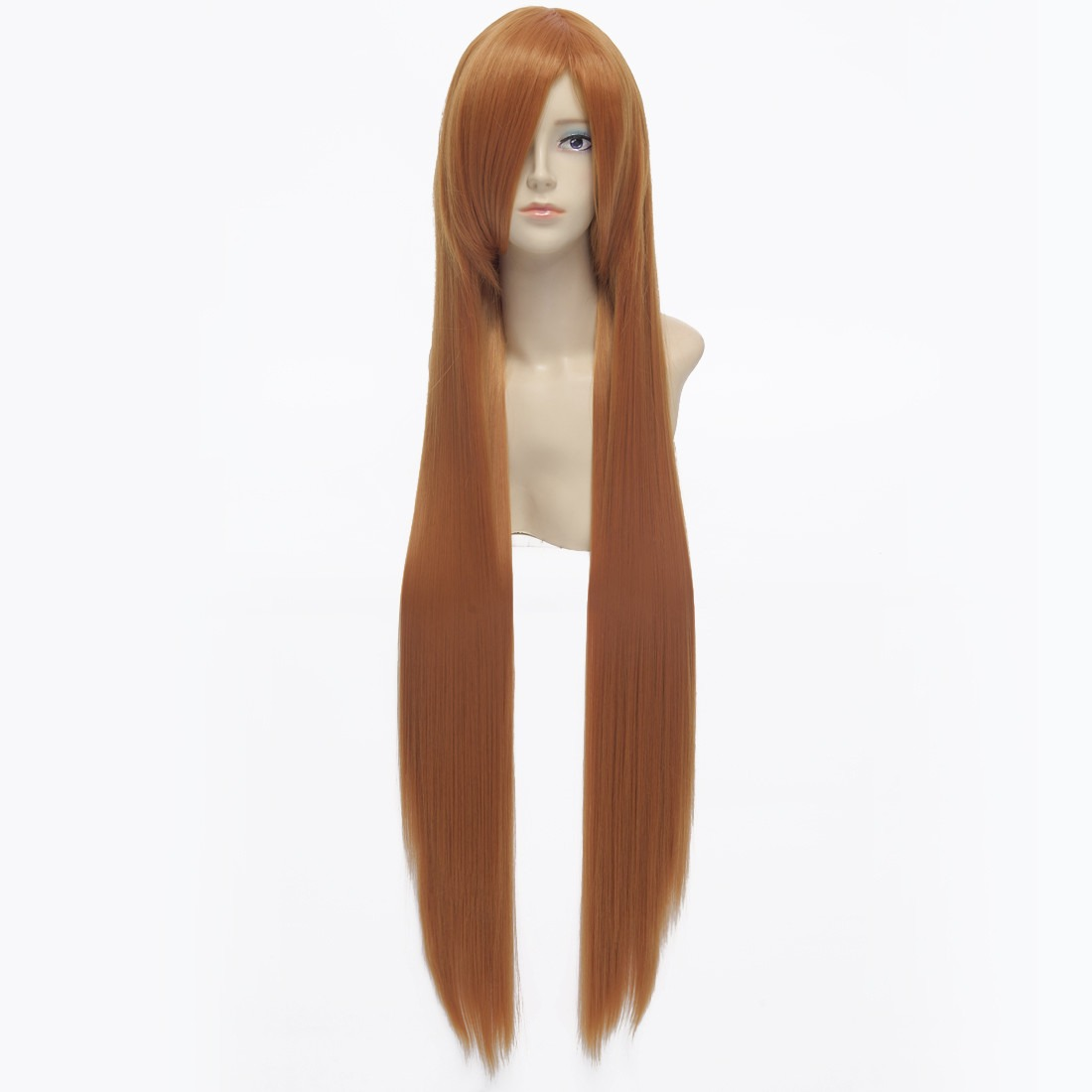 100cm Orange Straight Long Synthetic Full Cosplay Costume Anime Fancy-dress Wig