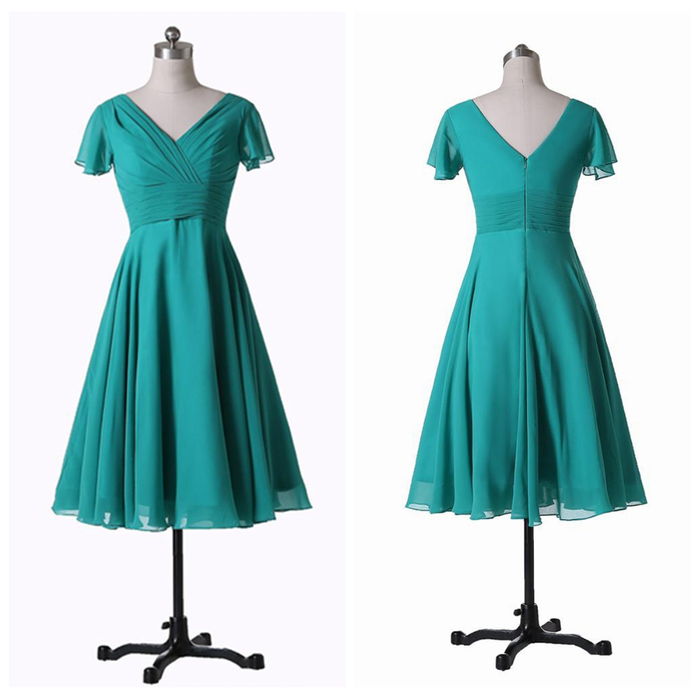 robe demoiselle d 39 honneur 2016 v neck sleeved chiffon a line tea length turquoise bridesmaid. Black Bedroom Furniture Sets. Home Design Ideas