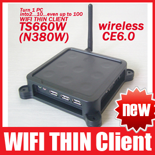 TS660W / N380W Wireless Win CE 6.0 OS Network Terminal Thin Client Net Computer Sharing Support Winows 7 /vista Free Shipping