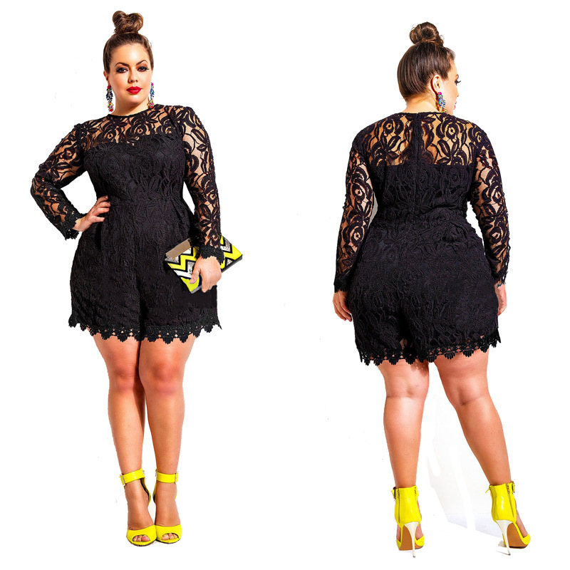 Solid Color Hollow Out Long Sleeve Lace Rompers Plus Size ...