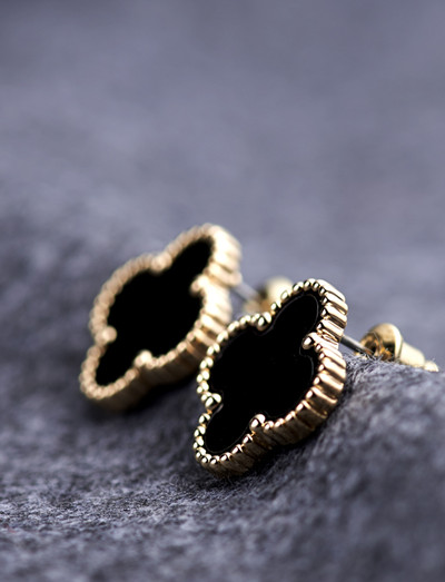 Four leaf clover 14k gold black big stud earring black star fashion style 2014 free shipping(China (Mainland))