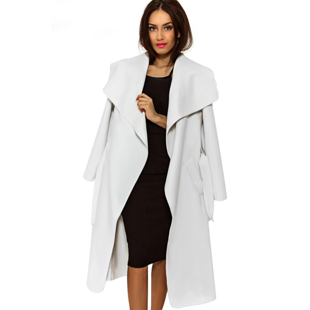 2015 High Fashion Wide Lapel Long Belted Loose Winter Wool Coat Women Blend Casual Female Trench Coat Jacket Black White Camel(China (Mainland))