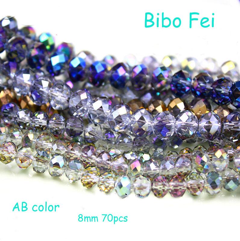 Free shipping multi color 8mm 70PCS Glass Czech crystal beads, wheel beads,transit beads,bracelet necklace Jewelry Making DIY(China (Mainland))