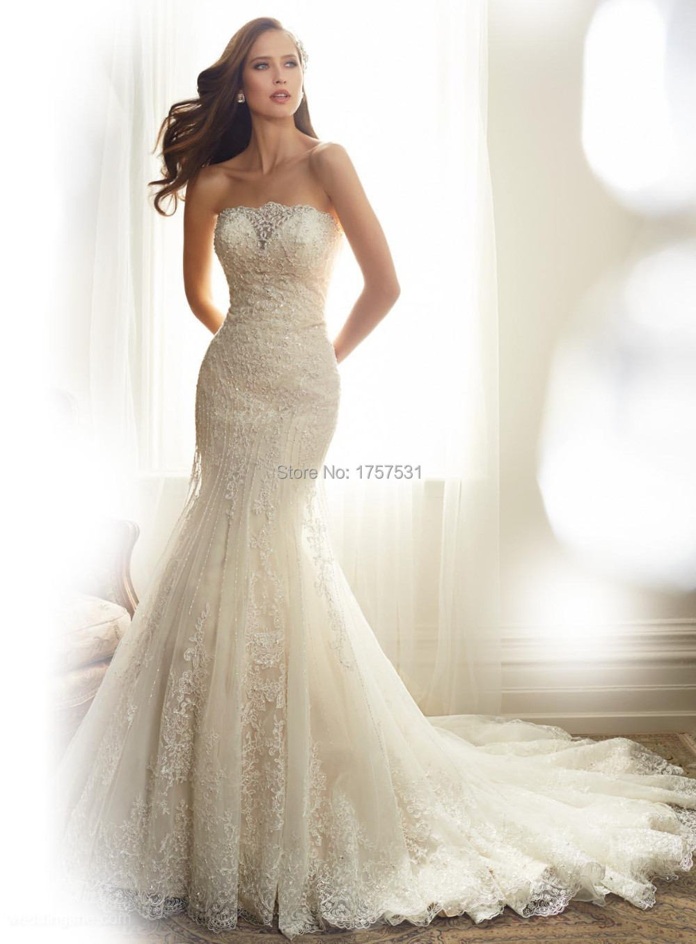 Charming 2015 white ivory elegant mermaid wedding dress for Beaded lace mermaid wedding dress