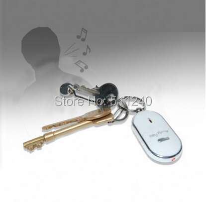 Free Shipping 1PC White LED Key Finder Locator Find Lost Keys Chain Keychain Whistle Sound Control(China (Mainland))