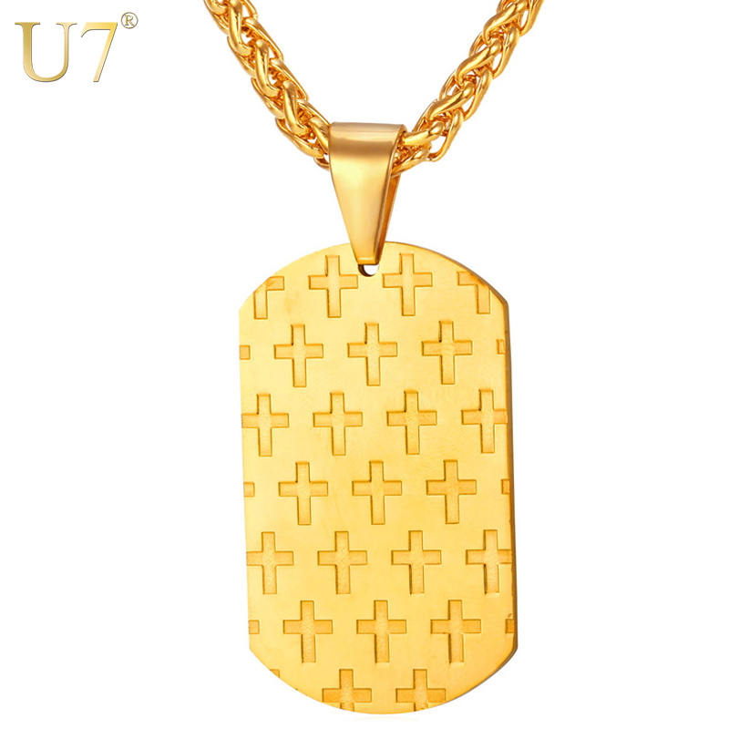 U7 Dog Tag Cross Pendant Jesus Necklace Women Men Jewelry Gold Plated Stainless Steel Trendy Necklace Christian Jewelry P767(China (Mainland))