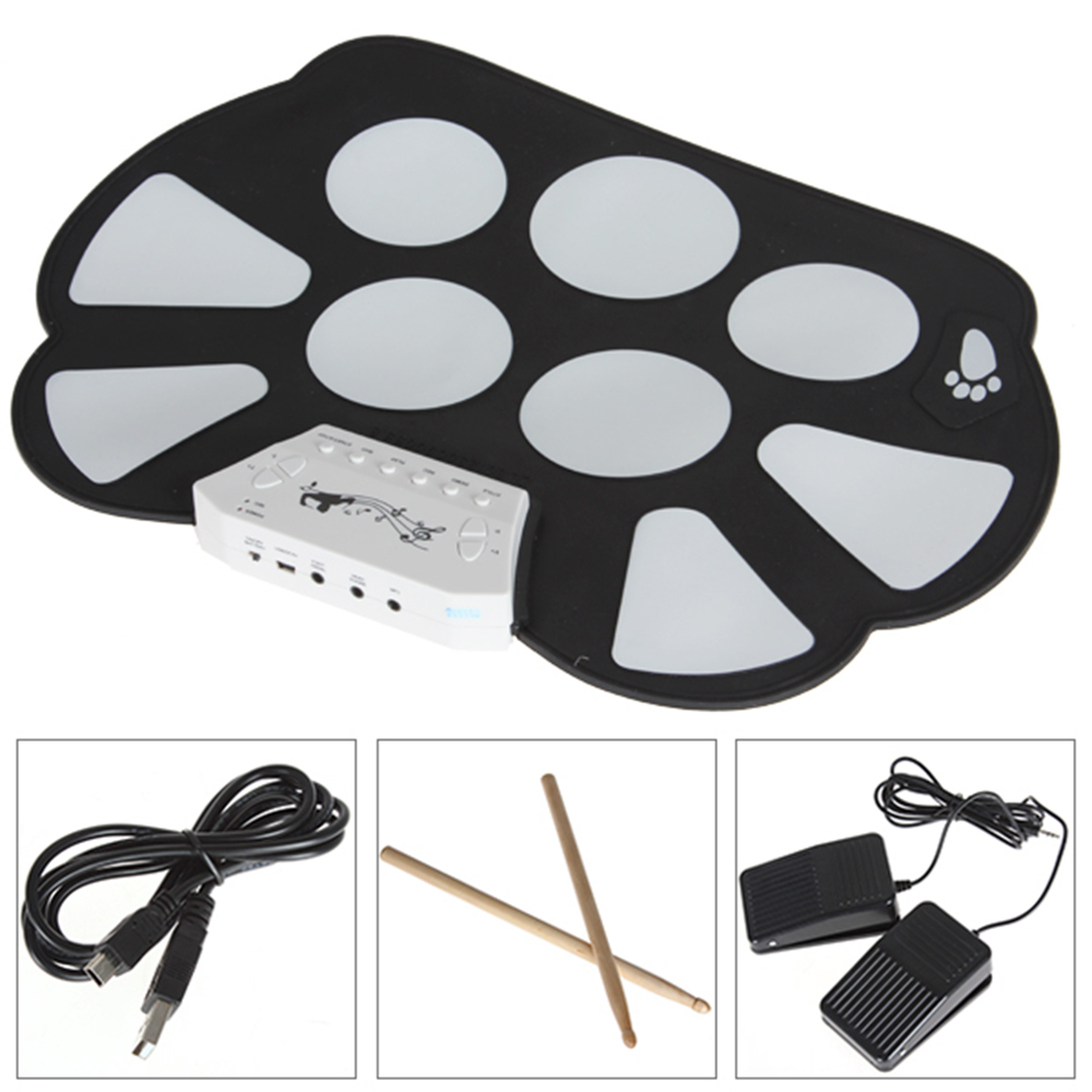 Portable 9 Pad Drum Roll-Up Drum Kit Music Instruments Practice Fun(China (Mainland))