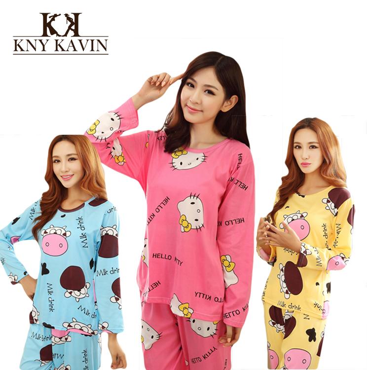 Women Cotton Pajamas Hello Kitty Sleepwear Sets Soft Pajamas Women Nightgown Fashion Style Pajamas Sets New Arrivla WD2026(China (Mainland))