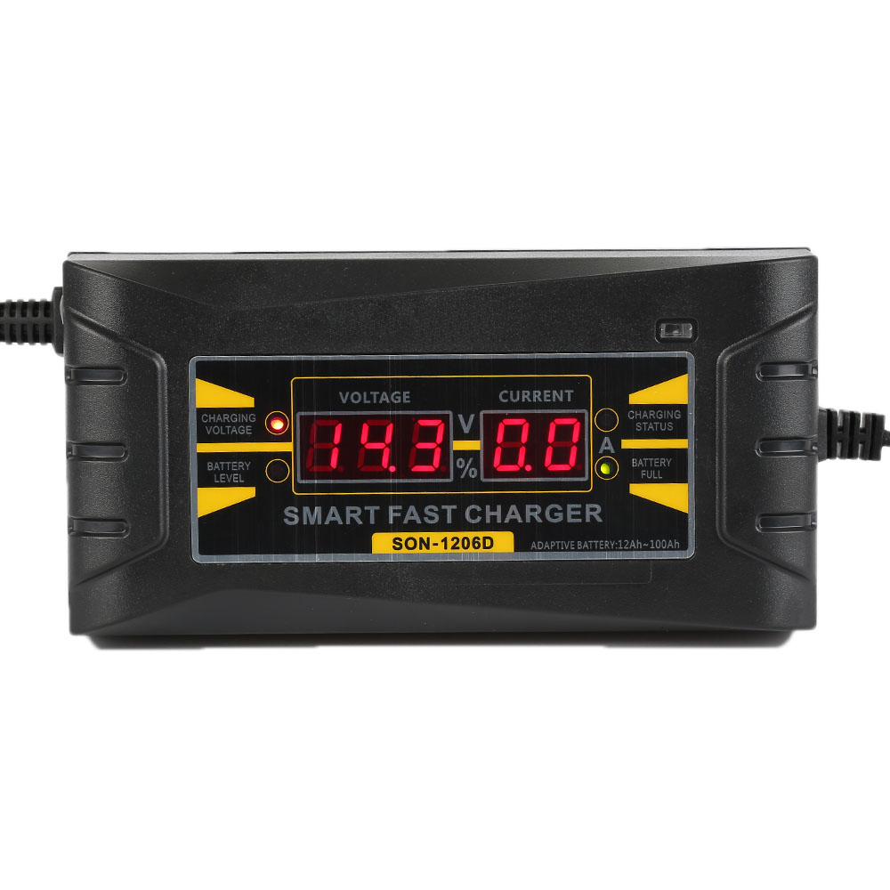 6A 12V Full Automatic Car Battery Charger 110V to 220V Intelligent Fast Power Charging Wet Dry Lead Acid Digital LCD Display(China (Mainland))