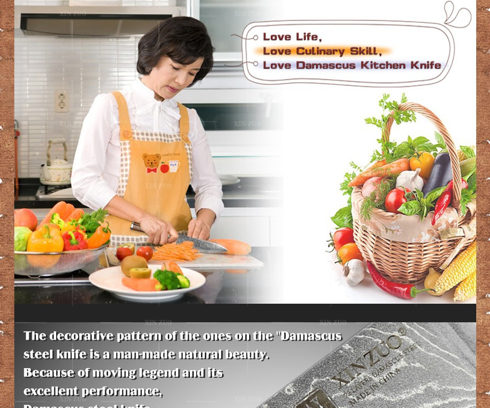Buy 5 pcs kitchen knife set 73 layer Japanese VG10 Damascus  kitchen knife cleaver chef utility knife wood handle free shipping cheap