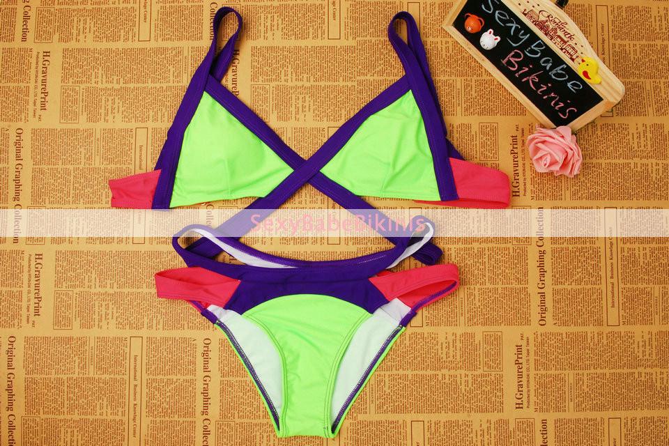 2016 Novo Maiô Verão Sexy Biquíni Dinâmica Fronteira Cor Bandagem Marca Gini Biquínis Set Swimwear Brasileiro Biquini Plus Size