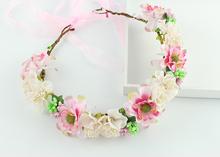 Wedding Bridal Party voile flower beige pink handmade artifical fabric Flower Hair Band Tiara Headband Jewelry Accessories