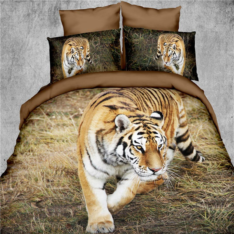 3D Bedding sets 4pc Tiger Print Bed Sheet 3D Quilts without Reactive Printing Beddings 4 Pieces Bedding Set Queen size(China (Mainland))