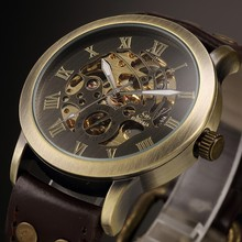 2016 mens watches SHENHUA Retro Vintage Skeleton Mechanical Watches Men Steampunk Leather Automatic self wind reloj hombre
