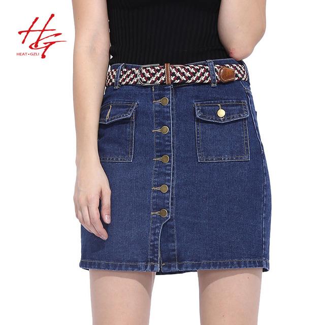 S01S 2016 летняя мода женские юбки джинсовой Линии синий юбка женский сладкий стиль