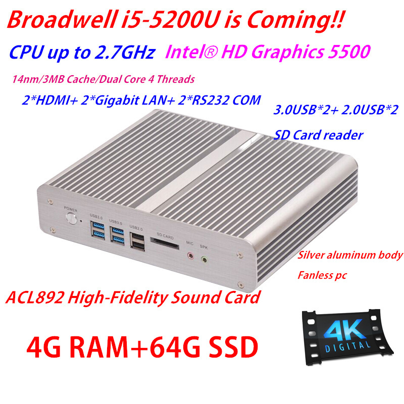 New Broadwell Processor Intel Core i5 5200u 4G RAM 64G SSD HD Graphics 5500 Mini ITX PC with No Fan Dual Gigabit Lan win7/Win 8(China (Mainland))