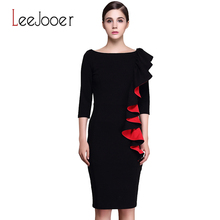LEEJOOER Womens Elegant Sexy Ruffle Sleeve Ruched Party Wear To Work Fitted Stretch Slim Wiggle Pencil Sheath Bodycon Dress(China (Mainland))