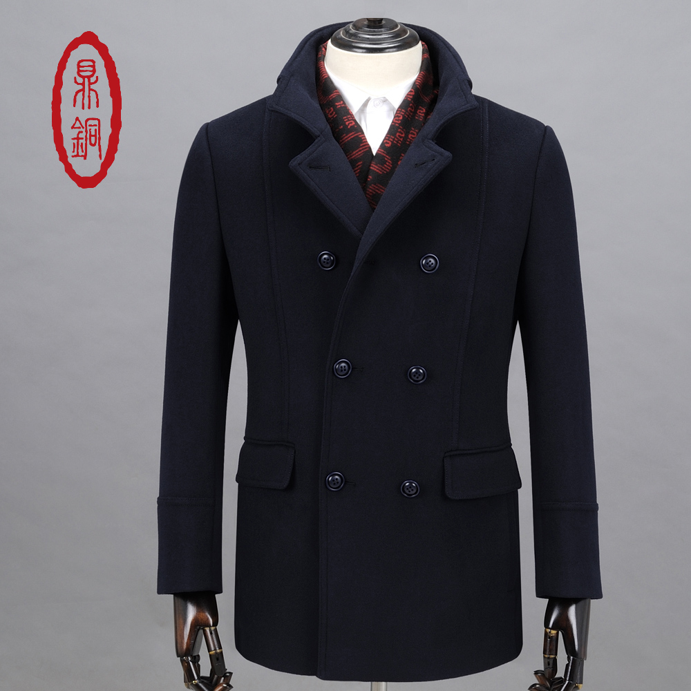 DINGTONG Men Wool Blends Pea Coat Double Breasted Mid-long Navy Blue Slim Button Collar Coat Causal Padded Lined Overcoat(China (Mainland))