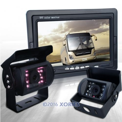 "12-24V Car Reverse Camera Kit With 7"" TFT LCD Monitor + 2 CMOS IR Backup Cameras(China (Mainland))"