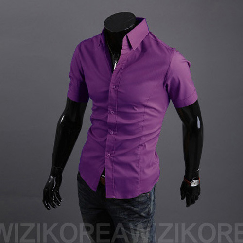 Mens Purple Short Sleeve Button Down Shirt | Is Shirt