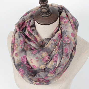 Warm Women Flower Loop Scarf Female Small Rose Print Chevron Ring Scarves Winter Plants Infinity Shawl Wrap