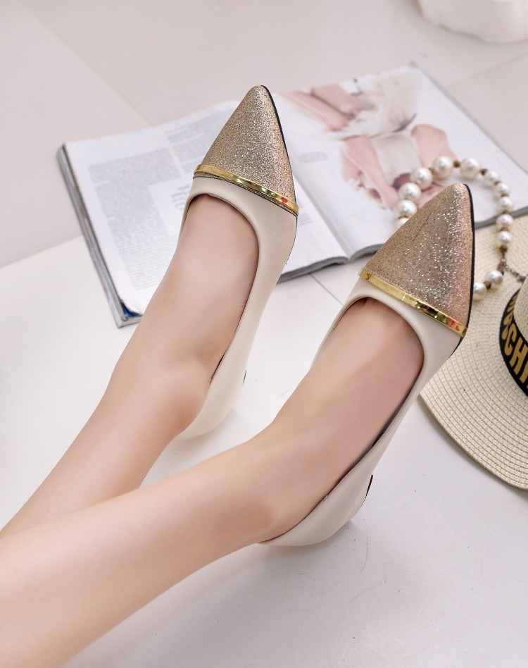 2016 New Style shallow mouth shoe Pointed Toe Mixed Color Flat Women Wok Shoes Factory Wholesale Drop Shipping(China (Mainland))
