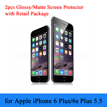 for iPhone 6 Plus 6plus 5.5″ Clear Screen Protector 2pcs/lot Anti-finger Matte Screen Film for iPhone 6s Plus with Retail Pack