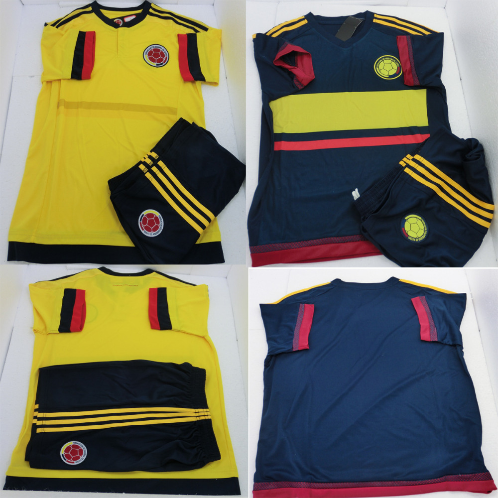 2015 Colombia Soccer Jerseys Shirts Set FALCAO JAMES ESCOBAR 15 16 Home Away Football Kits Yellow Navy Soccer Uniforms Top New(China (Mainland))
