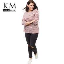 Buy Kissmilk Plus Size New Fashion Women Clothing Casual Striped Streetwear Basic Tops Loose O-Neck Big Size T-shirt 3XL 4XL 5XL 6XL for $10.19 in AliExpress store