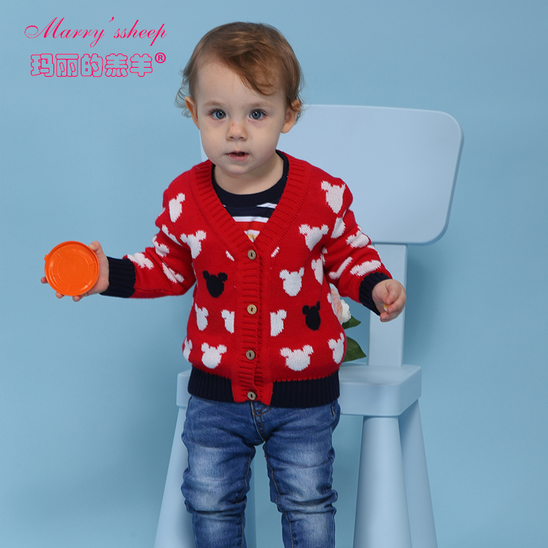 2015 Character Red V-Neck 100%Combed Cotton Cartoon Computer Knitted Baby Sweaters Fashion Single Breasted Cardigan For Babies(China (Mainland))