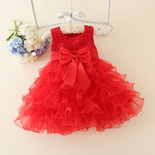 Red Baby Christmas Dresses For Girls  Lace Pearls Girls Christening Dress Baby Girl Tutu Dress Kids Children Holiday Clothing(China (Mainland))